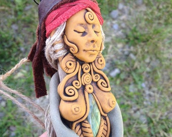 Shaman Spirit Doll - Art Doll - Altar Doll - Wall Hanging - Hand Sculpted Clay - Labradorite - Poppet Doll - Pagan Art