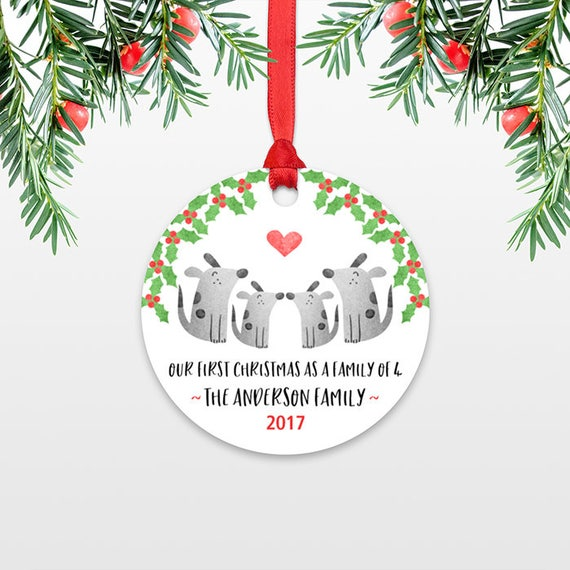 Dog Family Christmas Ornament New Parents Gift Our First Christmas Ornament Family of 4 Four Dog New Baby Personalized Christmas Ornament