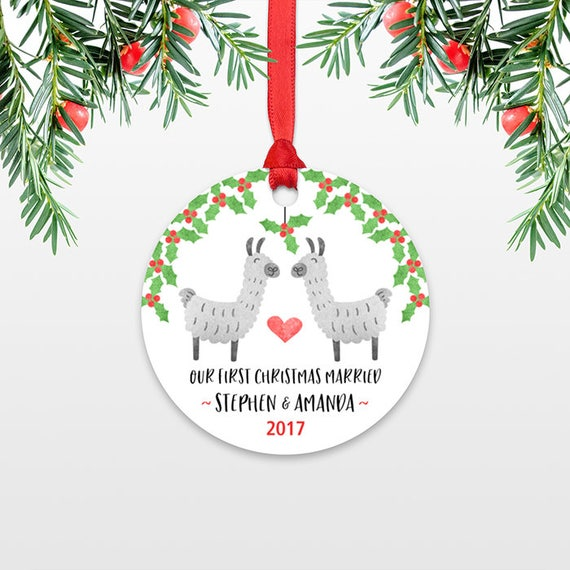 Llama Couple First Christmas Ornament Personalized, Our First Christmas Married, 1st First Christmas Engaged, First Christmas Together