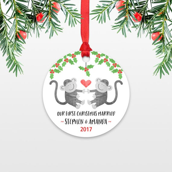 Monkey Personalized First Christmas Ornament Couple, Our First Christmas Engaged, 1st First Christmas Married, First Christmas Together