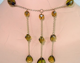 Faceted Plastic Amber Teardrop Droplet and Beaded Necklace