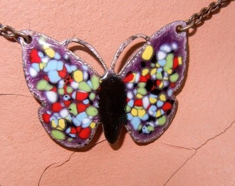 Vintage Multi Colored Enamel Butterfly Necklace