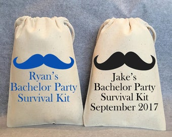 "13- Personalized Bachelor party favor bags, bachelor party, bachelor survival kit, Hangover kit, 4""x6"""