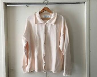 Light pink chunky collared oversized cardigan