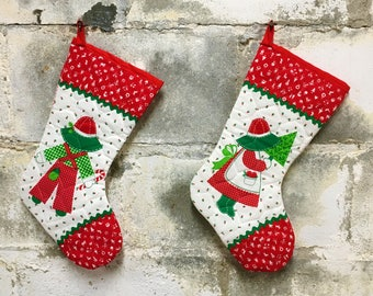 Vintage Christmas Stocking Pair Country Kids Sunbonnet Quilted