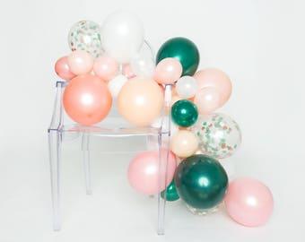 Balloon Garland Kit - Emerald Rose - Blush, White, Rose Gold, Deep Emerald Balloon Garland - Chic Party Balloons