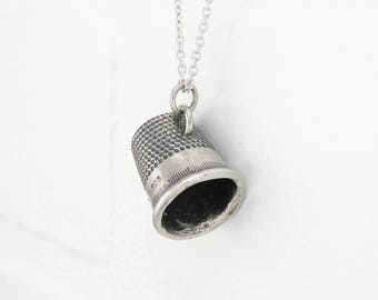 Sterling Silver THIMBLE Pendant. Silver Thimble Necklace. Perfect Gift for Sewer. Seamstress Necklace. Sewing Jewelry. FREE SHIPPING.