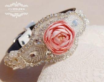 Modern  flower dog collar,wedding dog collar.beautiful rhinestone with cute flower dog collar.party dog collar. Pet Birthday gift.pet collar