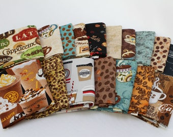 10 Fat Quarters - Coffee Cafe Au Late Mocha Espresso Latte Caffeine Coffee Shop Beans Cups Assorted Quality Quilters Cotton Fabric M226.07