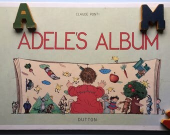 Adele's Album, English Version, French Book, 1986, Huge Hardcover, Nursery Decor, Child Room, Read Aloud, Pictures Only, French Life
