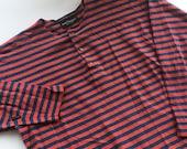 MARIMEKKO men top Long sleeve cotton top Mika Piirainen striped red blue top Scandinavian design top