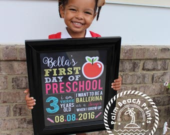 First Day of School Printable Sign - First Day of School Chalkboard Photo Prop - Personalized School Sign Printable