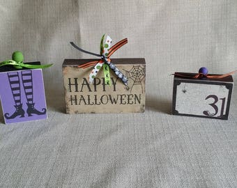 Wood Blocks, set of 3, home decor, wood sign, Fun Halloween Decor, Happy Halloween, October 31, Witch, ready to ship