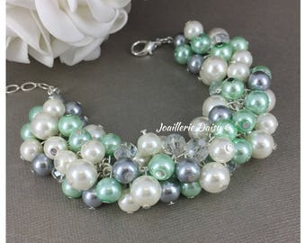 Mint Green Gray and Ivory Bracelet Mint Green and Grey Bracelet Bridesmaid Bracelet Bridesmiad Bracelet