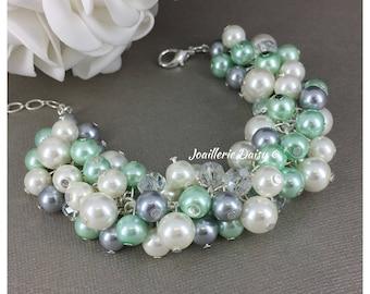 Mint Green, Gray and Ivory Bracelet, Mint Green and Grey Bracelet, Bridesmaid Bracelet, Bridesmiad Bracelet