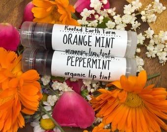 Organic Lip Tint - Natural Lip Tint - Tinted Lip Balm - Organic Lipstick - Peppermint Lip Balm - Lip Stain