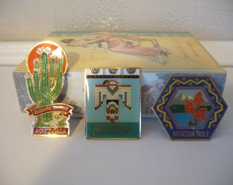 Travel Magnets - Set of 3 Metal Magnets - Jackson Hole, Arizona, Saguaro Cactus