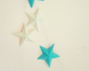 "The paper ""12 magic stars"" Garland blue and white"
