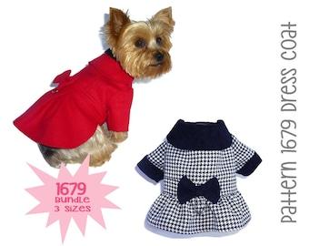 Dress Dog Coat Pattern 1679 * Bundle 3 Sizes * Dog Clothes Pattern * Winter Dog Coat * Dog Jacket * Warm Dog Coat * Little Dog Clothes