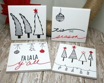 Christmas Drink Coasters | Christmas Coasters | Christmas Ceramic Tile Coasters | Drink Coasters