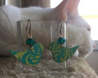 Pretty Bird Whimsy Swirl with Czech Glass Metal Earrings