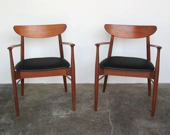 Pair (2) Stanley Captain Dining Chairs Armchairs / Accent Chairs Mid-Century Modern Vintage