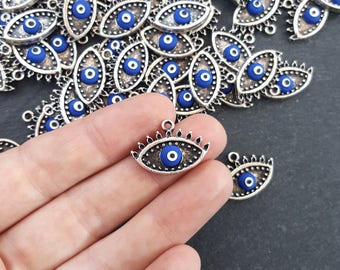 Royal Blue Evil Eye Charm Turkish Nazar Greek Eye Luckily Protective Handmade EvilEye Accent - Matte Antique Silver Plated Brass - 2pc