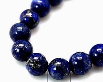 Set of 10 beads in lapis lazuli, NON DYED, 08mm in diameter