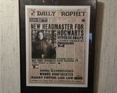 Harry Potter Daily Prophet Newspaper Front Page Headline PRINT New Headmaster for Hogwarts Severus Snape