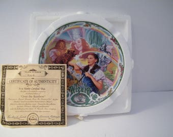 Over The Rainbow Musical Plate with COA, Vintage Knowles China Wizard of Oz collector plate, original packaging, numbered 970e, wall decor