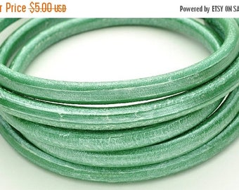 CLEARANCE Distressed Metallic Mint Green Regaliz 10 x 6mm Licorice Leather Cord - 8 inches/20cm (Qty. 1) (JM-MG10)