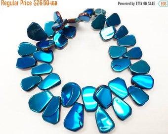 25% OFF Mystic Blue, Titanium Quartz Briolette Slabs, Titanium Slabs Beads, Full strand, 40 beads approx, 20-30mm - STQ103