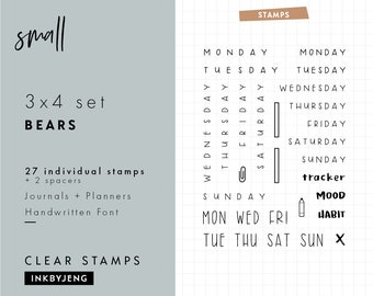 "STMP-3X4-004 Various Days of the Week - 3x4"" Clear Stamp Kit for your Journal and Planner / incl 7 day names perfect for 5mm grids Stamp Kit"