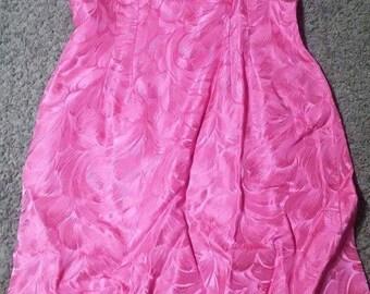 Beautiful 1950s Hot pink brocade vintage wiggle dress