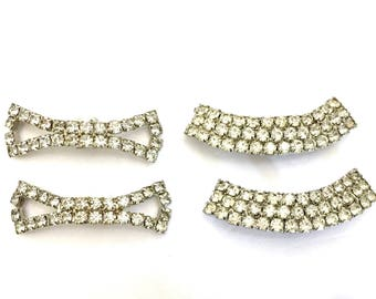 Lot of 2 Pair of Rhinestone Shoe Clips, Clear Chaton Rhinestones, Silver Tone Metal, Vintage Shoe Clips, Wedding Jewelry, Special Occasion