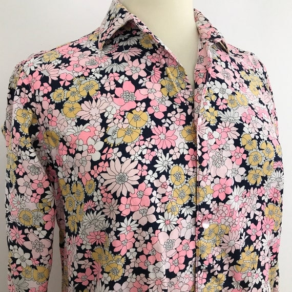 1970s Mod shirt top 70s psychedelic flower print vintage mans shirt neon pink floral scooter girl unisex menswear large UK 14 16