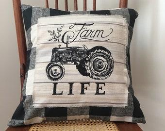 Farmhouse Pillow Cover - Farm Life Tractor Pillow Cover