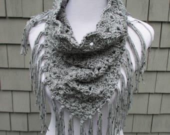 Crochet Triangle Scarf, Crochet Neck Warmer, Crochet Cowel, Crochet Fringe Scarf by CROriginals