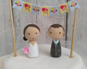 Wedding cake topper, Peg Doll, bride and groom cake topper, peg doll bride & groom, wedding, bridal