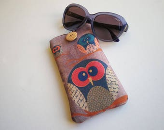 Glasses case, sunglasses case, eyeglasses case, Owl, Case for sunglasses, Quilted eyeglass case, glasses sleeve, sunglasses sleeve, owl case