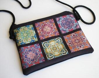 Shoulder bag, crossbody bag, mandala bag, mosaic tiles, printed bag, little bag, mandala shoulder bag