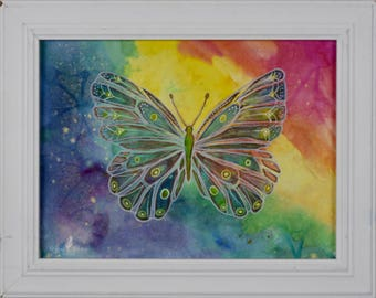 """Rainbow Butterfly Original Mixed Media Painting, """"One Love"""" 11x14 Framed Canvas Art"""