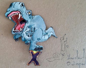 Fearfully great dinosaur letter magnet X