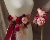Für Ann-Sophie Headpiece & Talienband bordeaux apricot altrosa puder Fascinator weinrot Vintage Hochzeit Haarschmuck dunkel rot Kopfschmuck