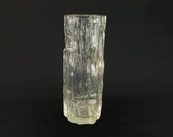 Crystal Clear Pilkington Tree Bark Glass Vase Vintage English 1960s