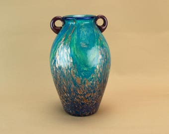 Blue Green Mottled Gold Glass Vase Amphora Vintage English 1970s