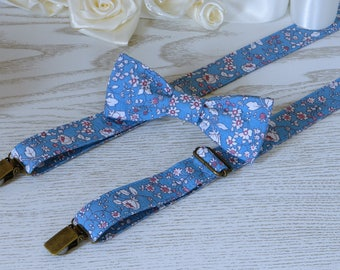 SUSPENDER and BOWTIE SET  Floral Tie Light Blue  Floral Alaskan Blue Wedding Suspenders   Floral Men's Suspenders  Groomsmen Bow Tie
