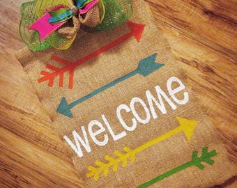 Colorful burlap summer welcome garden flag