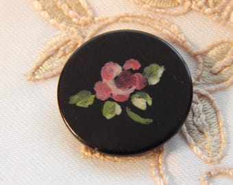 Rose - Painted Black Composition or Plastic Button