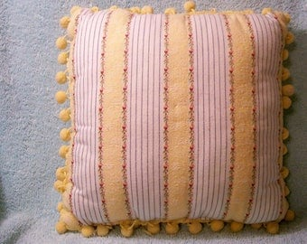 Ball Fringe Pillow - 11'' X 11'' - Cecelia-Marie - 252